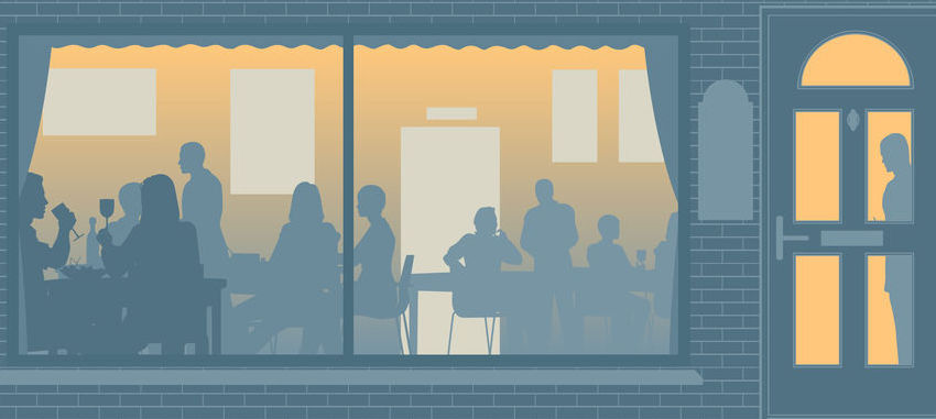 Editable vector illustration of people eating through a restaurant window