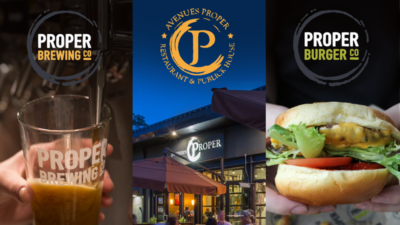 The Proper Burger, Proper Brewing, and Avenues Proper logos side-by-side.