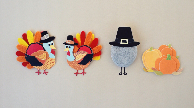 Thanksgiving turkeys dressed as pilgrims.