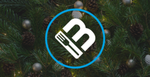 MobileBytes cloud POS for restaurants logo on holiday background.