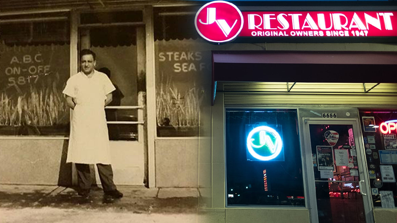 Original JV's Restaurant owner, George Dross next to current building.