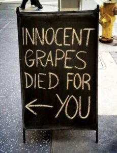 Restaurant sign advertising wine.