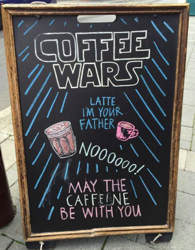 Restaurant sign with Star Wars theme